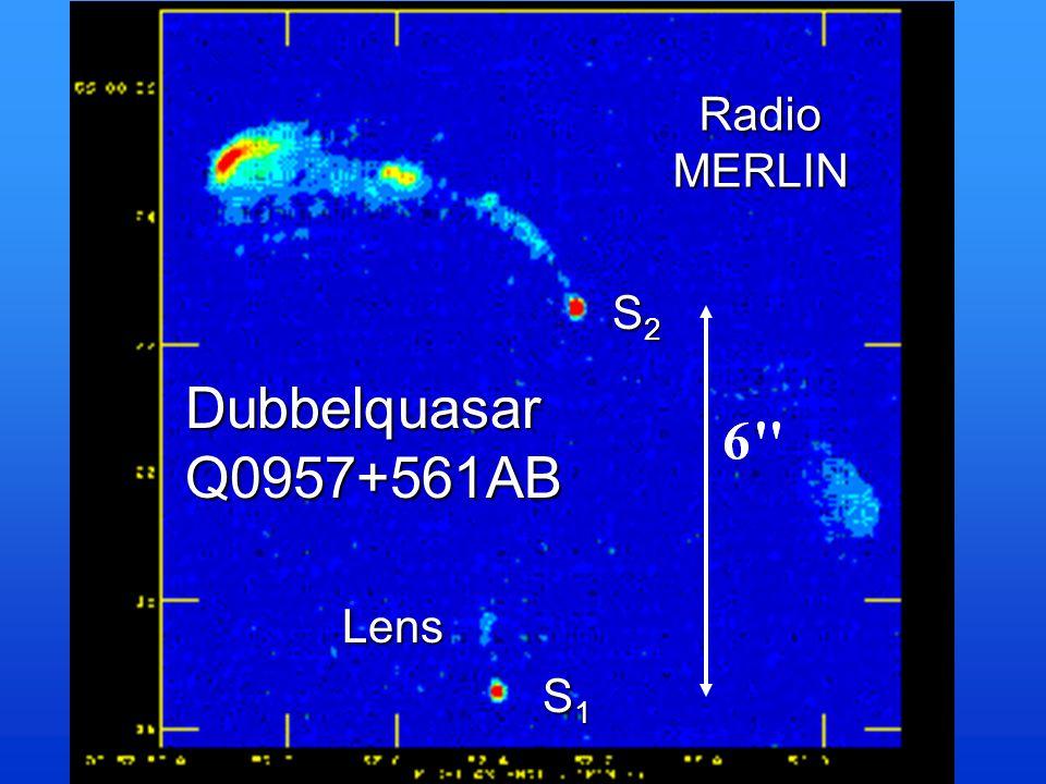 Radio MERLIN S2 Dubbelquasar Q0957+561AB Lens S1