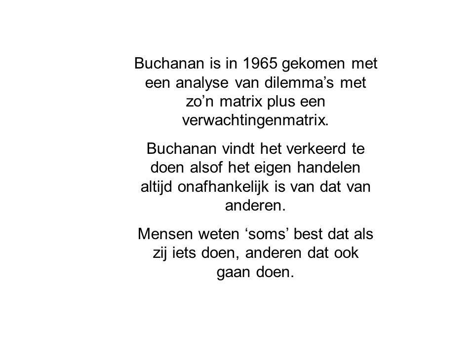 Buchanan is in 1965 gekomen met een analyse van dilemma's met zo'n matrix plus een verwachtingenmatrix.