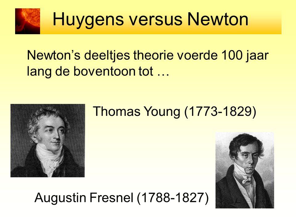 Huygens versus Newton Newton's deeltjes theorie voerde 100 jaar