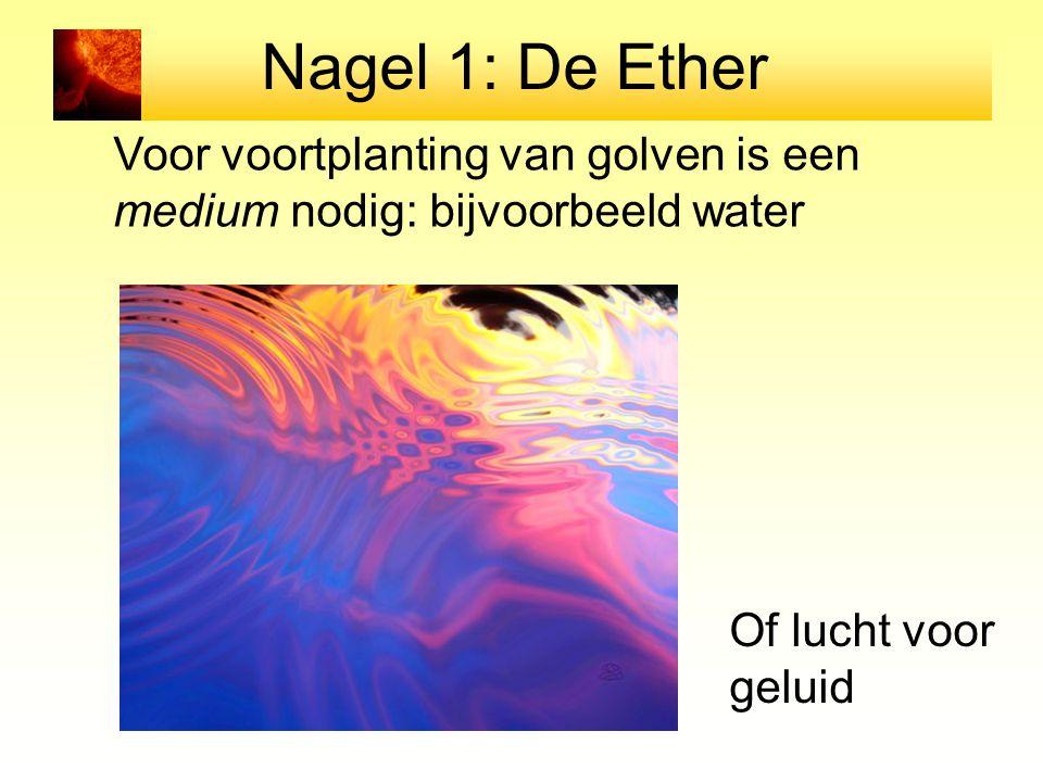 Nagel 1: De Ether Voor voortplanting van golven is een