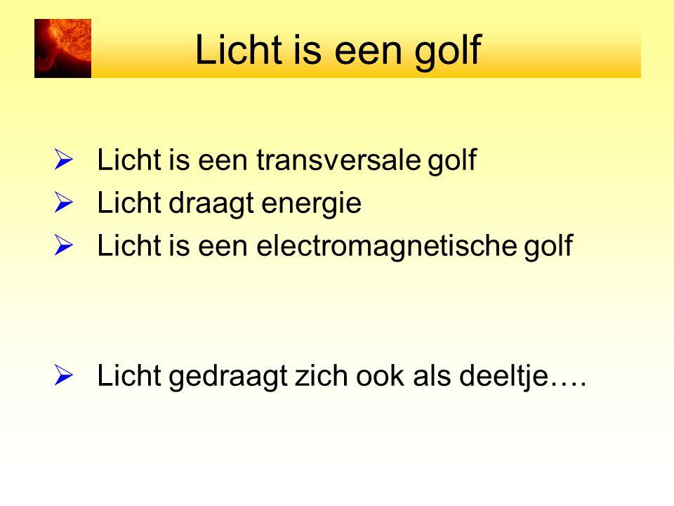 Licht is een golf Licht is een transversale golf Licht draagt energie