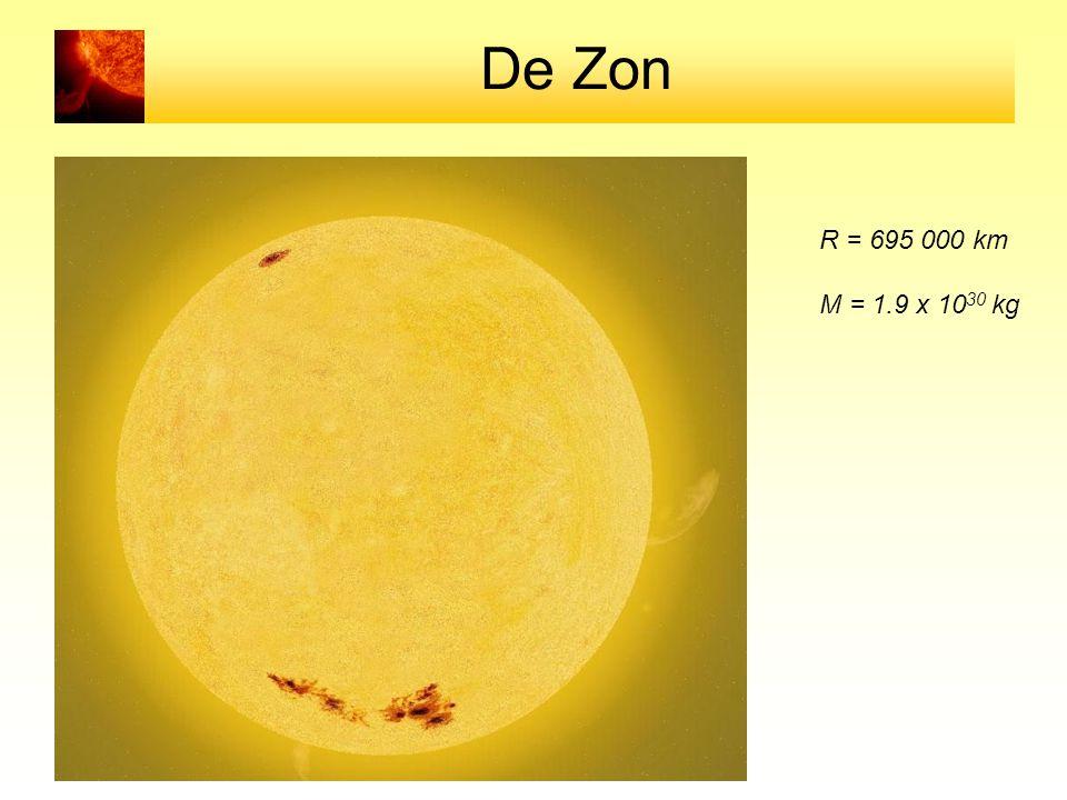 De Zon R = 695 000 km M = 1.9 x 1030 kg
