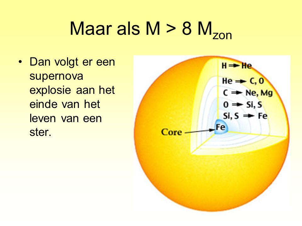 Maar als M > 8 Mzon Dan volgt er een supernova explosie aan het einde van het leven van een ster.