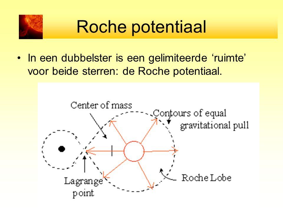 Roche potentiaal In een dubbelster is een gelimiteerde 'ruimte' voor beide sterren: de Roche potentiaal.