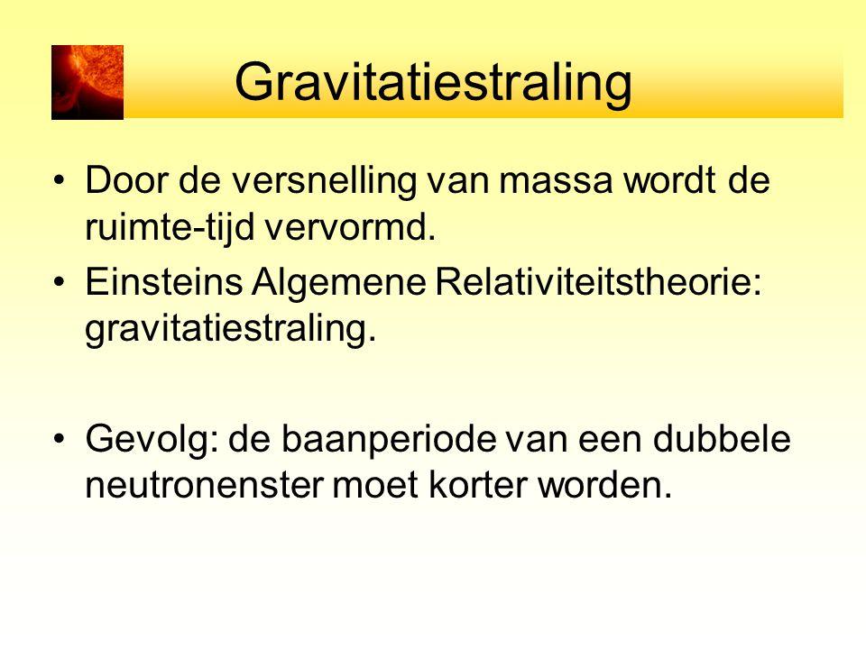 Gravitatiestraling Door de versnelling van massa wordt de ruimte-tijd vervormd. Einsteins Algemene Relativiteitstheorie: gravitatiestraling.
