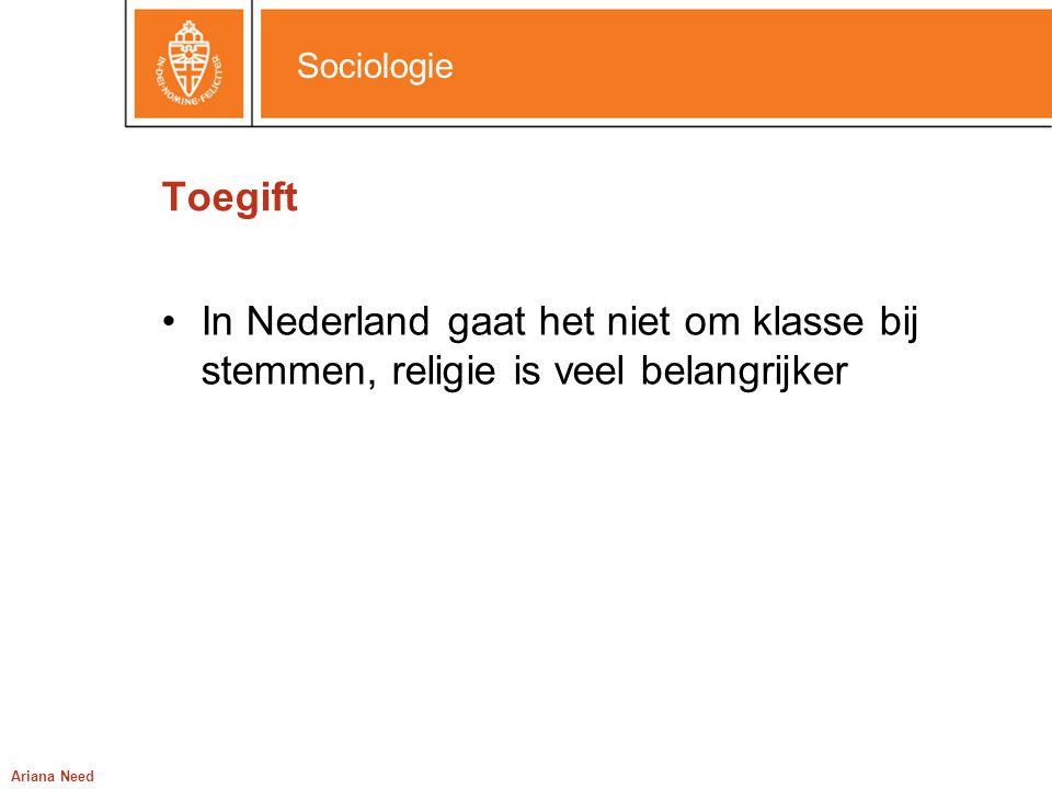Toegift In Nederland gaat het niet om klasse bij stemmen, religie is veel belangrijker Ariana Need