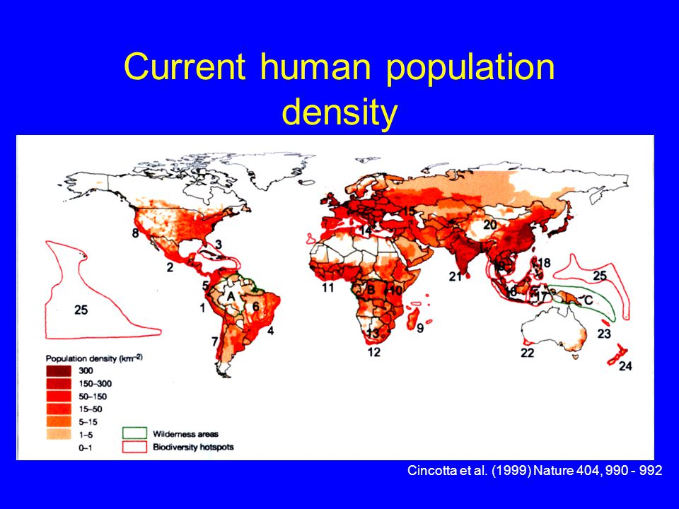 Current human population density