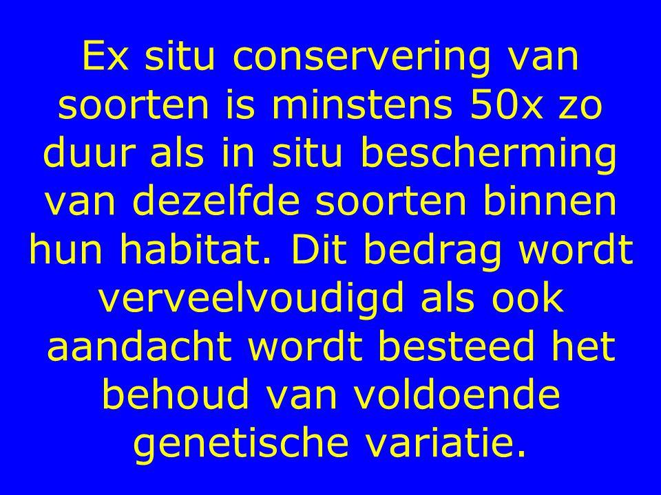 Ex situ conservering van soorten is minstens 50x zo duur als in situ bescherming van dezelfde soorten binnen hun habitat.