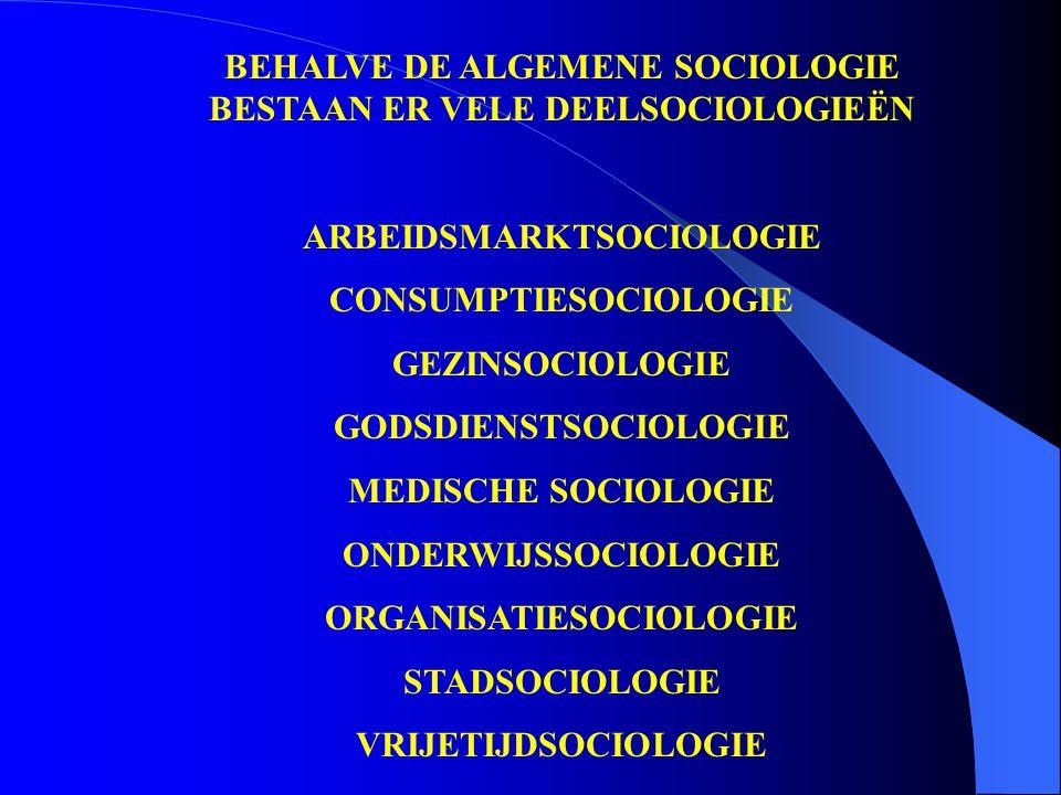 BEHALVE DE ALGEMENE SOCIOLOGIE BESTAAN ER VELE DEELSOCIOLOGIEËN