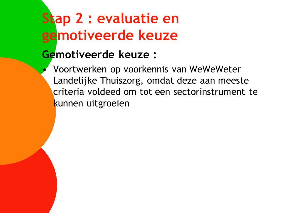 Stap 2 : evaluatie en gemotiveerde keuze