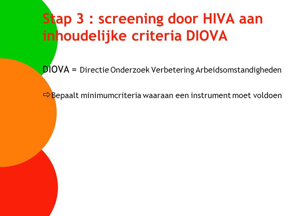 Stap 3 : screening door HIVA aan inhoudelijke criteria DIOVA