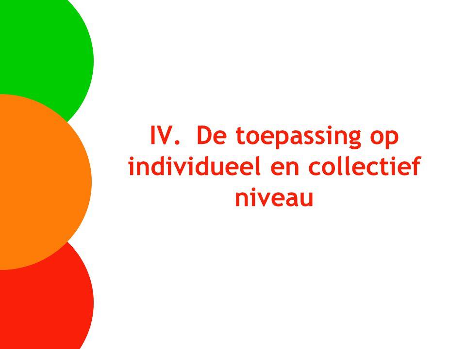 IV. De toepassing op individueel en collectief niveau