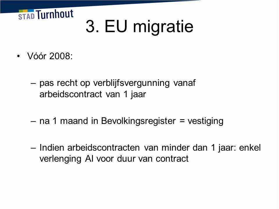3. EU migratie Vóór 2008: pas recht op verblijfsvergunning vanaf arbeidscontract van 1 jaar. na 1 maand in Bevolkingsregister = vestiging.
