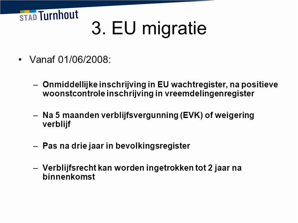 3. EU migratie Vanaf 01/06/2008: Onmiddellijke inschrijving in EU wachtregister, na positieve woonstcontrole inschrijving in vreemdelingenregister.