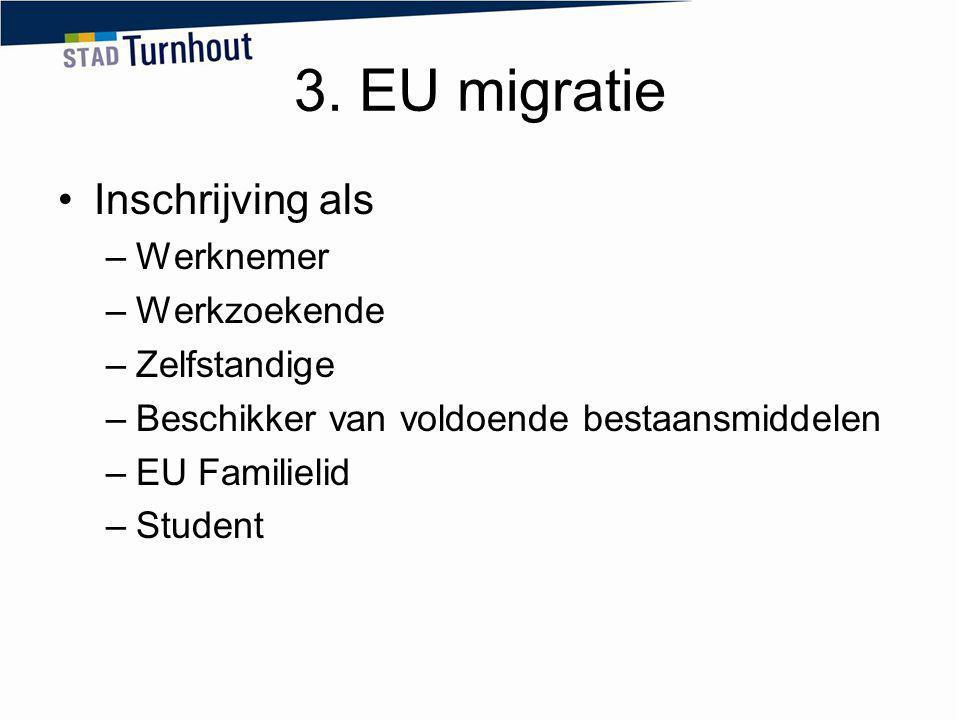 3. EU migratie Inschrijving als Werknemer Werkzoekende Zelfstandige
