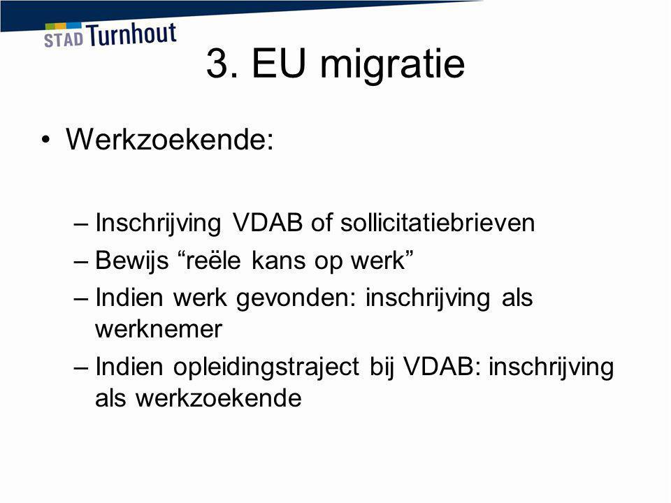 3. EU migratie Werkzoekende: Inschrijving VDAB of sollicitatiebrieven