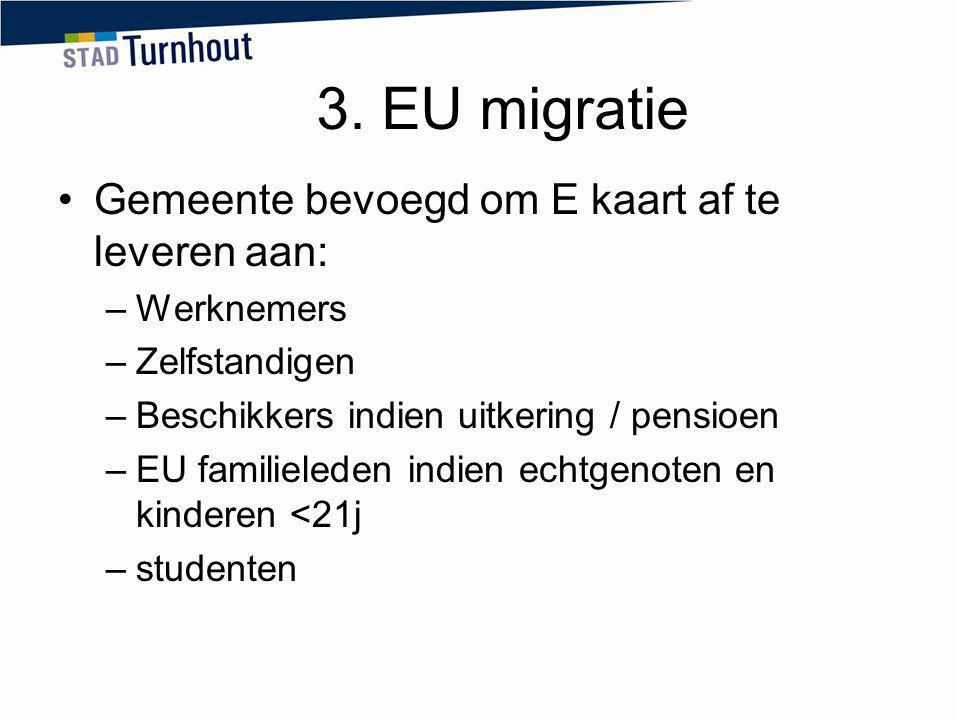 3. EU migratie Gemeente bevoegd om E kaart af te leveren aan: