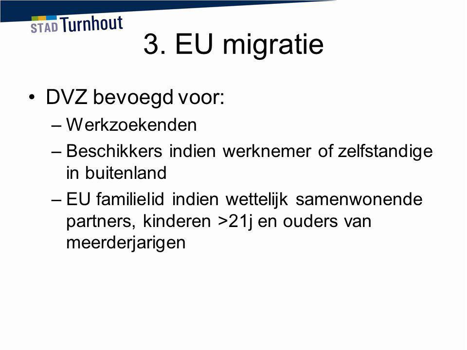 3. EU migratie DVZ bevoegd voor: Werkzoekenden