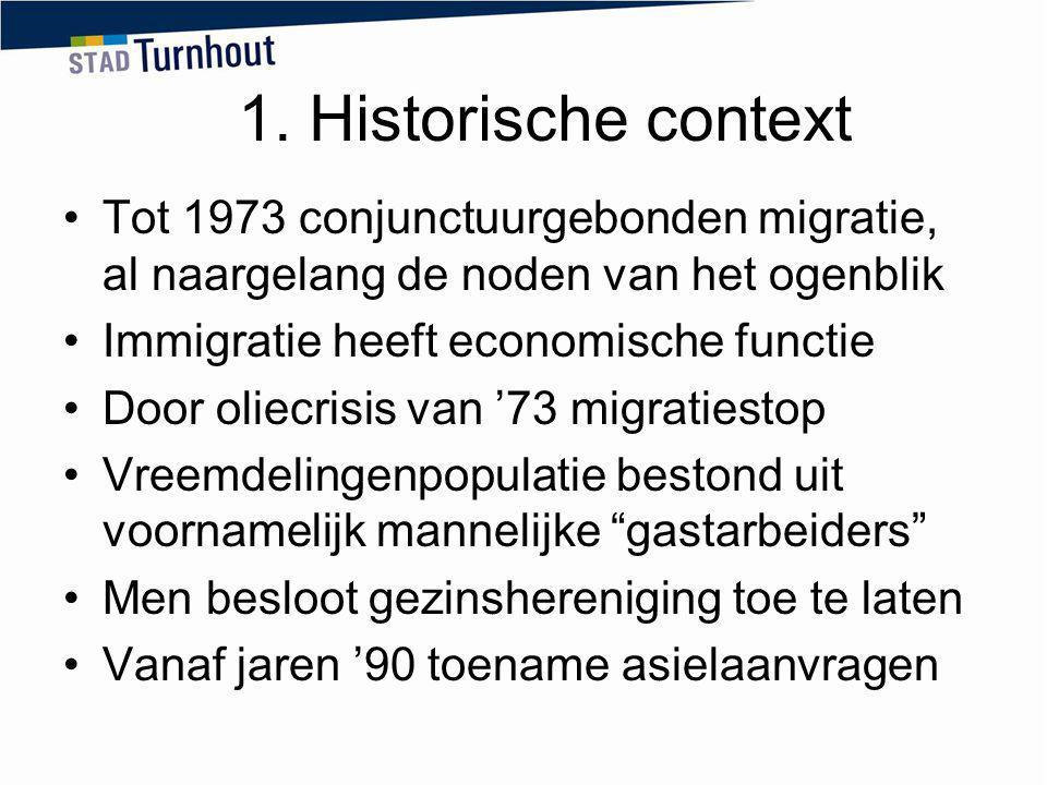 1. Historische context Tot 1973 conjunctuurgebonden migratie, al naargelang de noden van het ogenblik.
