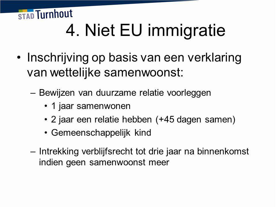 4. Niet EU immigratie Inschrijving op basis van een verklaring van wettelijke samenwoonst: Bewijzen van duurzame relatie voorleggen.