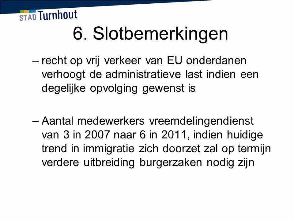 6. Slotbemerkingen recht op vrij verkeer van EU onderdanen verhoogt de administratieve last indien een degelijke opvolging gewenst is.