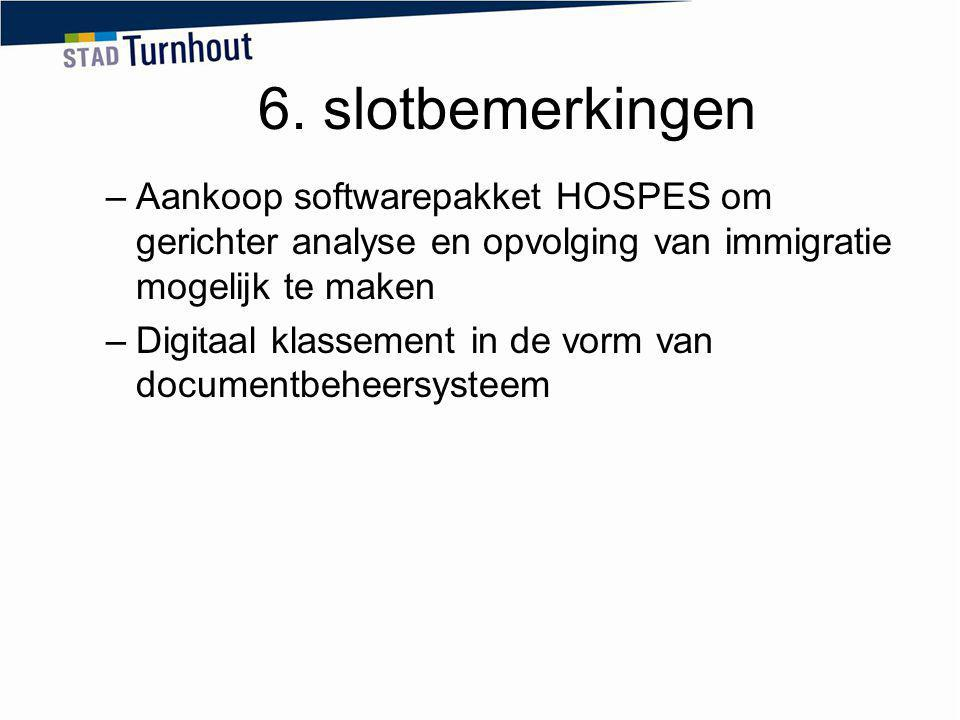 6. slotbemerkingen Aankoop softwarepakket HOSPES om gerichter analyse en opvolging van immigratie mogelijk te maken.