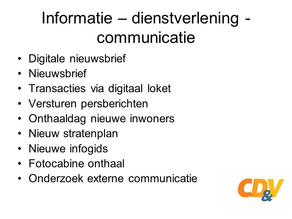 Informatie – dienstverlening - communicatie