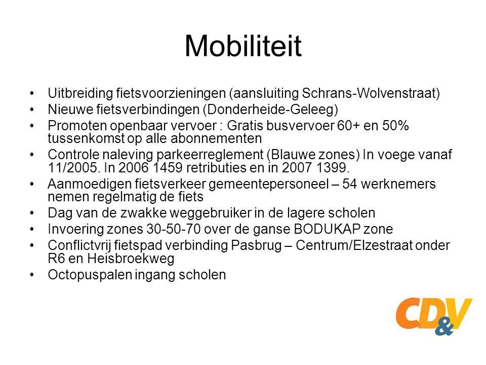 Mobiliteit Uitbreiding fietsvoorzieningen (aansluiting Schrans-Wolvenstraat) Nieuwe fietsverbindingen (Donderheide-Geleeg)