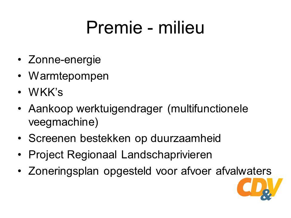 Premie - milieu Zonne-energie Warmtepompen WKK's