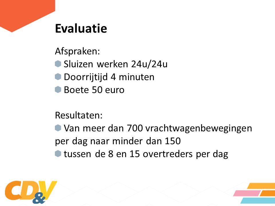 Evaluatie Afspraken: Sluizen werken 24u/24u Doorrijtijd 4 minuten