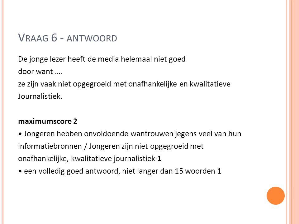 Vraag 6 - antwoord