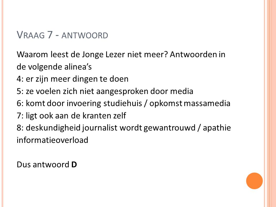 Vraag 7 - antwoord