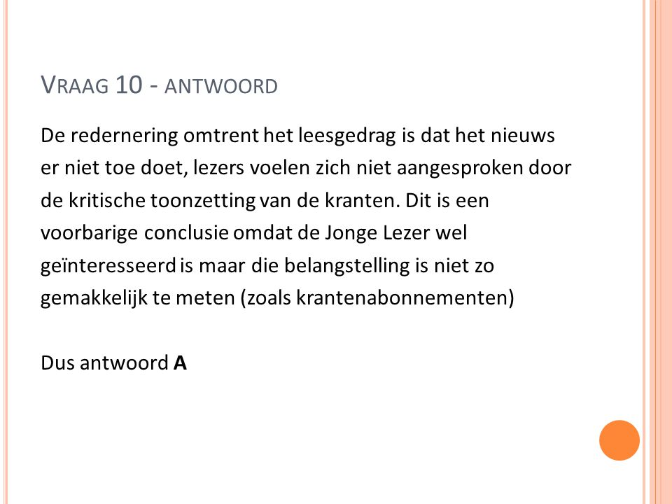 Vraag 10 - antwoord