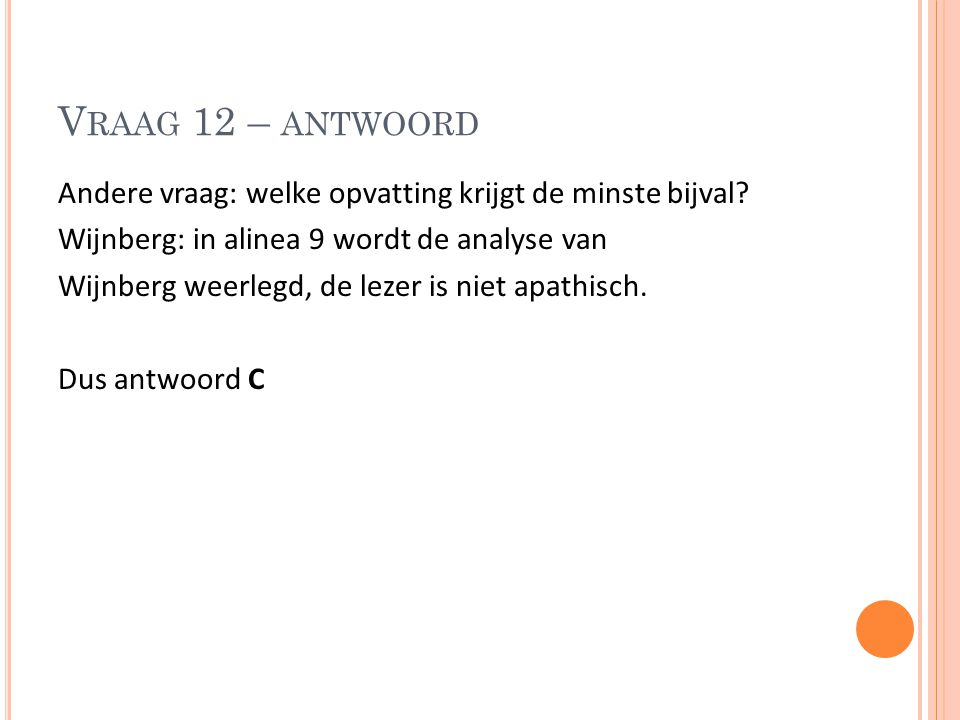 Vraag 12 – antwoord