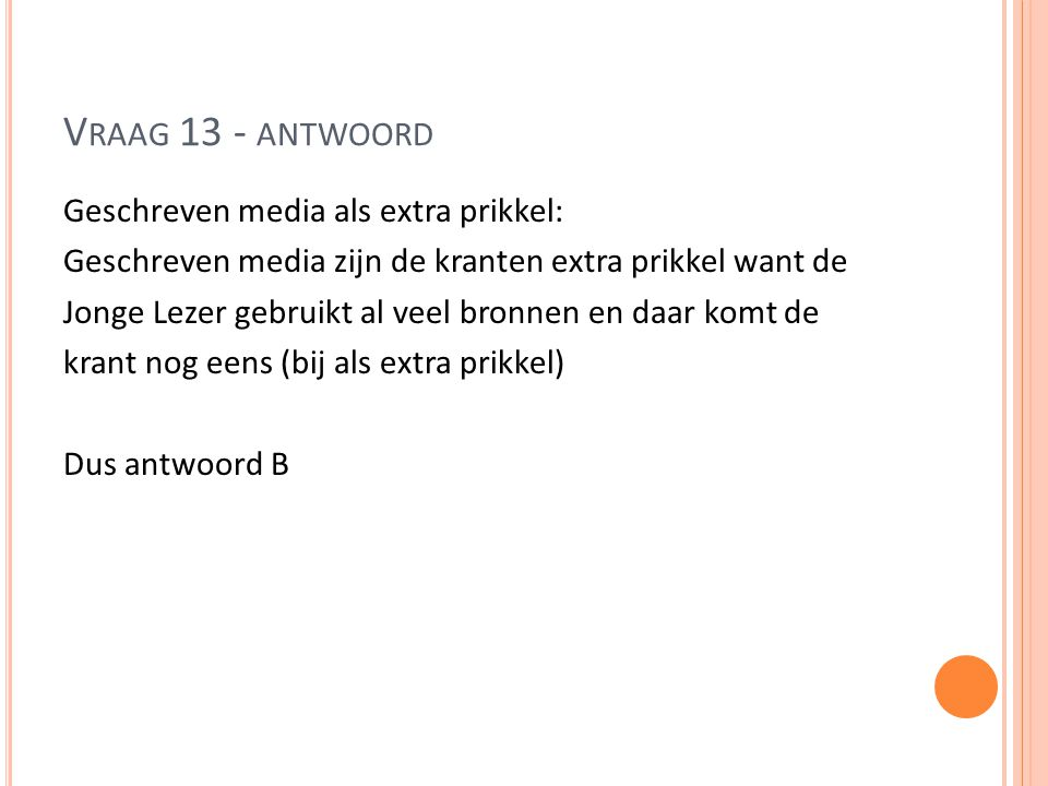Vraag 13 - antwoord