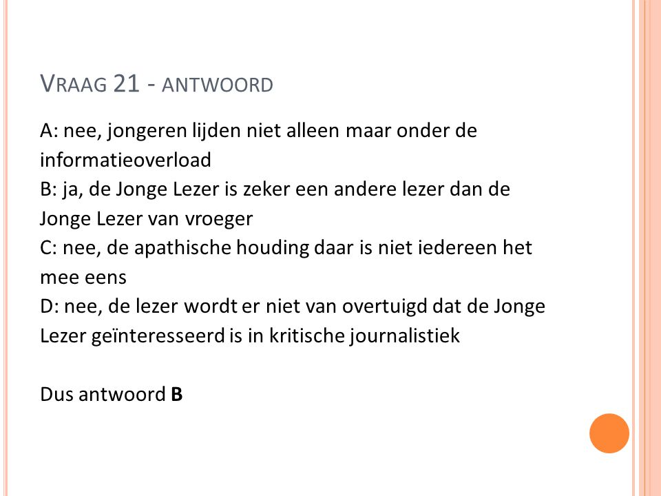 Vraag 21 - antwoord
