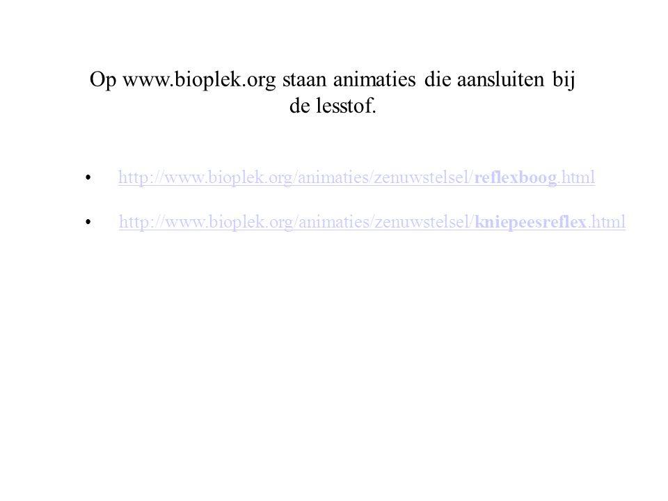 Op www.bioplek.org staan animaties die aansluiten bij de lesstof.
