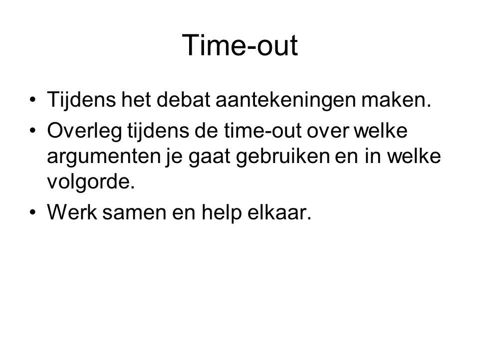 Time-out Tijdens het debat aantekeningen maken.
