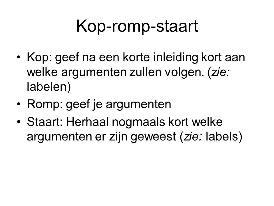 Kop-romp-staart Kop: geef na een korte inleiding kort aan welke argumenten zullen volgen. (zie: labelen)
