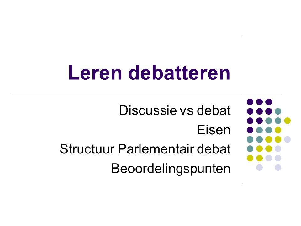 Leren debatteren Discussie vs debat Eisen Structuur Parlementair debat
