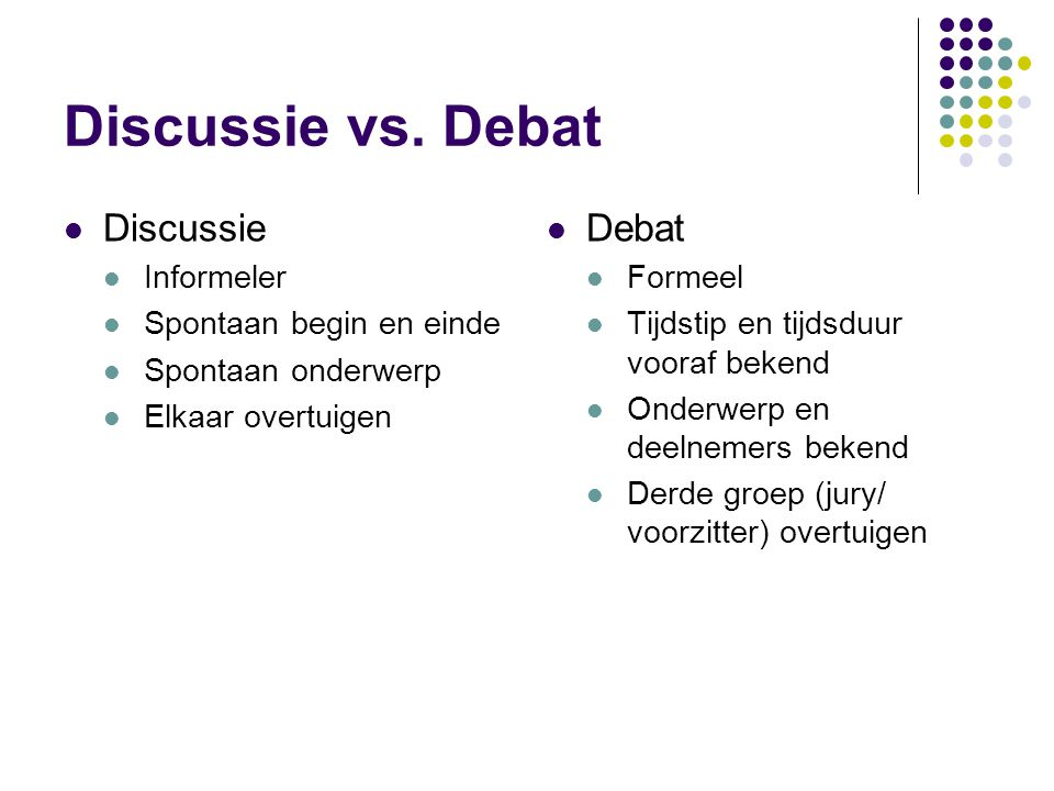 Discussie vs. Debat Discussie Debat Informeler Spontaan begin en einde