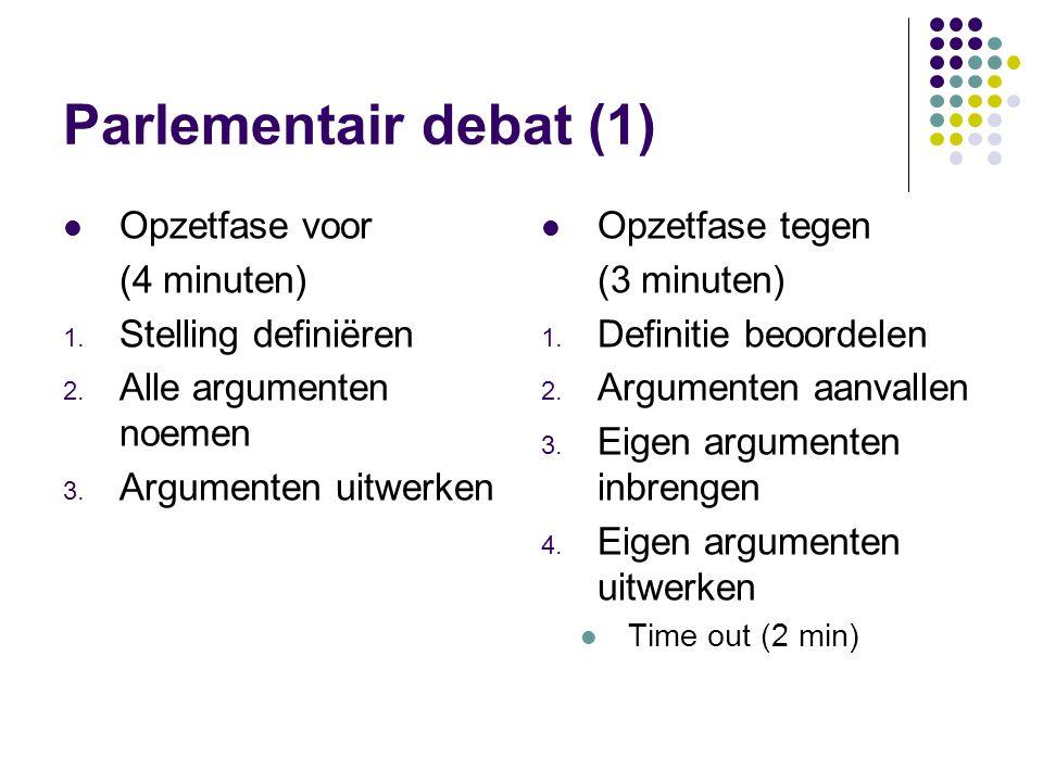 Parlementair debat (1) Opzetfase voor (4 minuten) Stelling definiëren