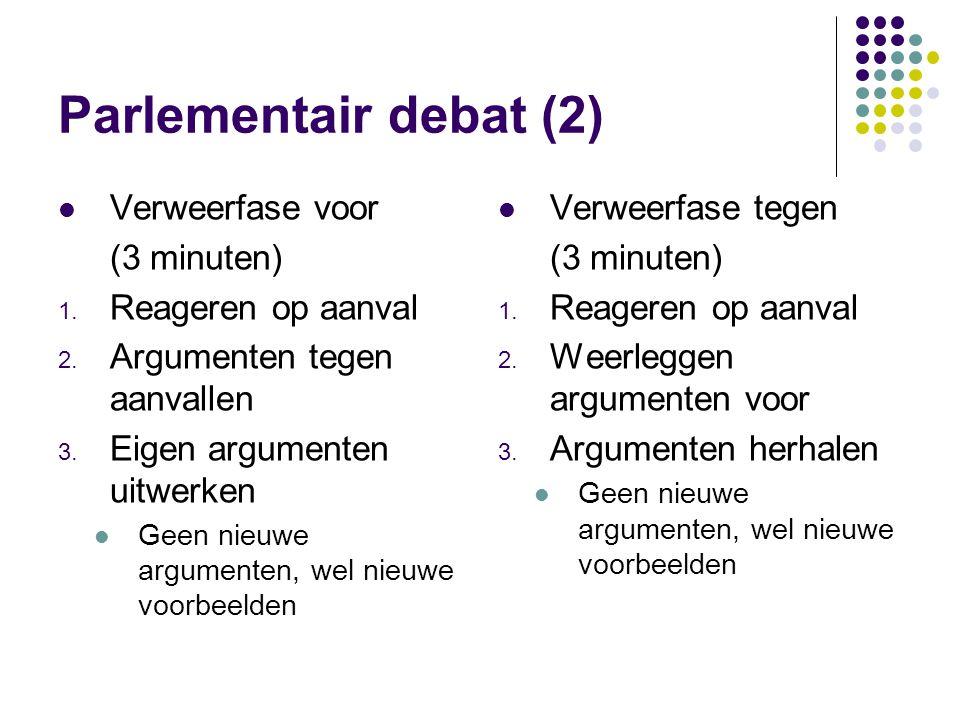 Parlementair debat (2) Verweerfase voor (3 minuten) Reageren op aanval