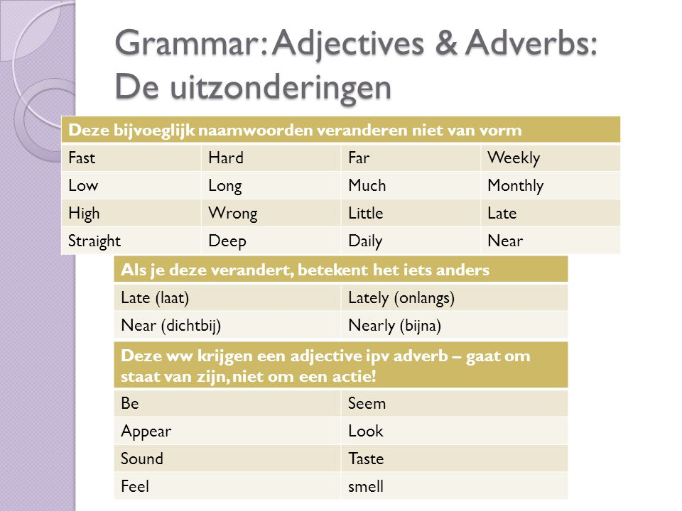 Grammar: Adjectives & Adverbs: De uitzonderingen