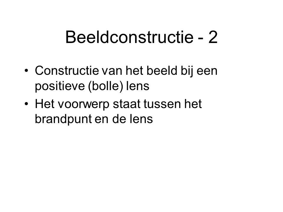 Beeldconstructie - 2 Constructie van het beeld bij een positieve (bolle) lens.