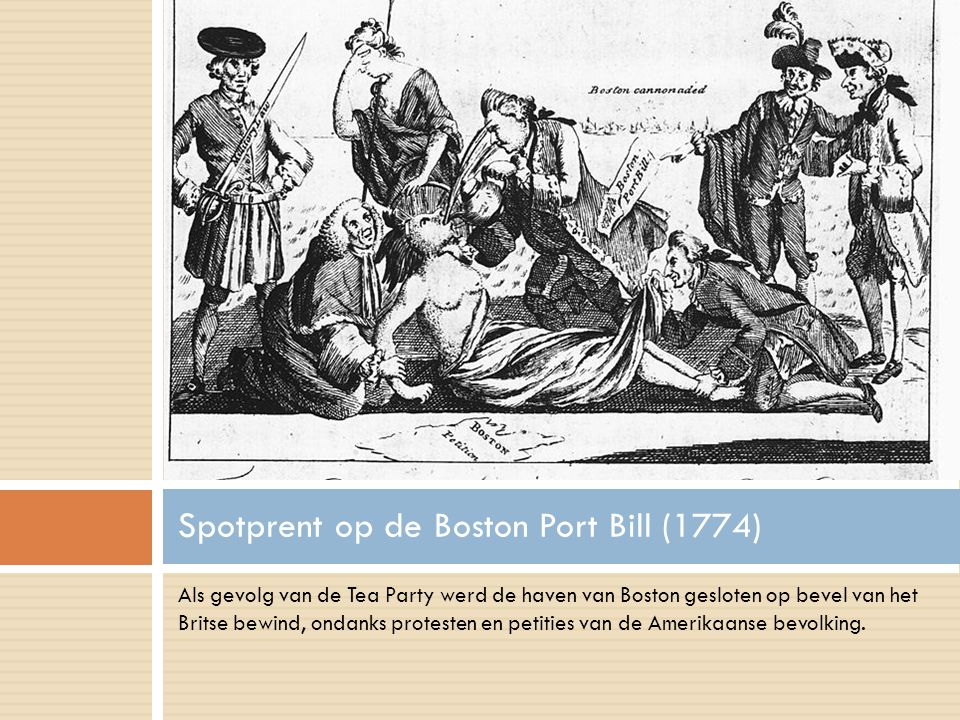 Spotprent op de Boston Port Bill (1774)