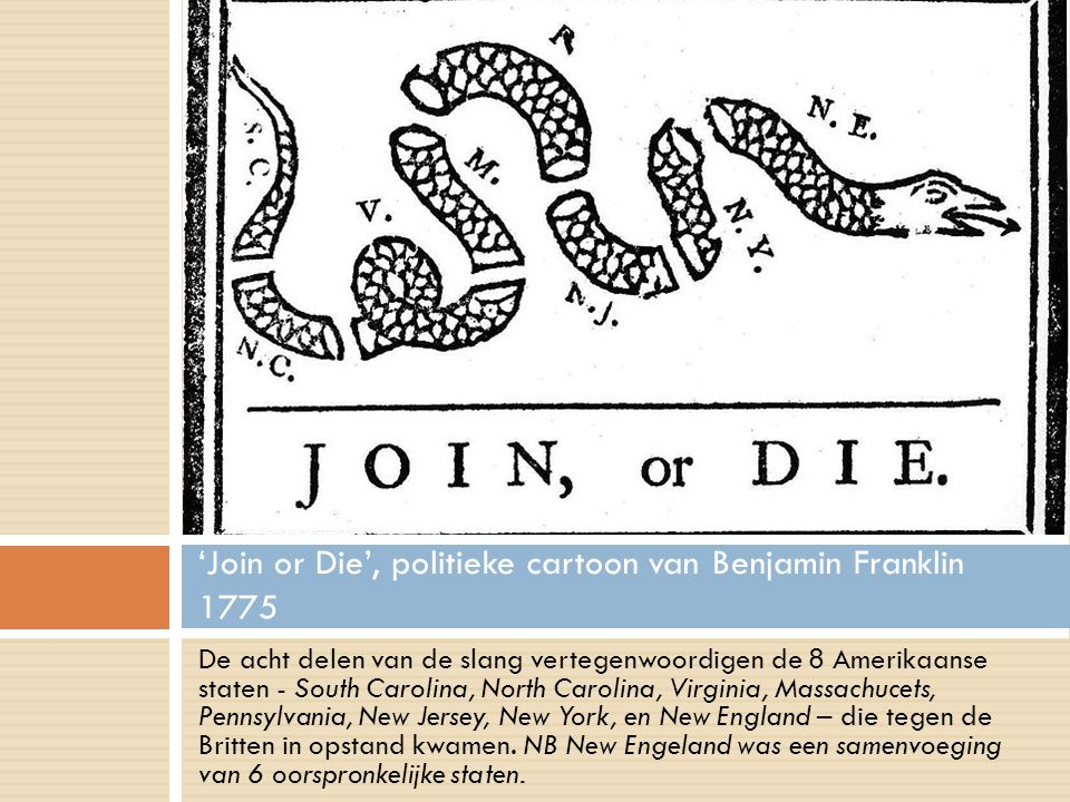 'Join or Die', politieke cartoon van Benjamin Franklin 1775