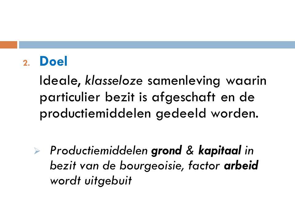 Doel Ideale, klasseloze samenleving waarin particulier bezit is afgeschaft en de productiemiddelen gedeeld worden.