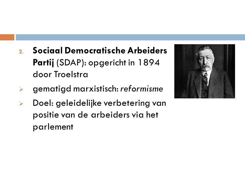 Sociaal Democratische Arbeiders Partij (SDAP): opgericht in 1894 door Troelstra