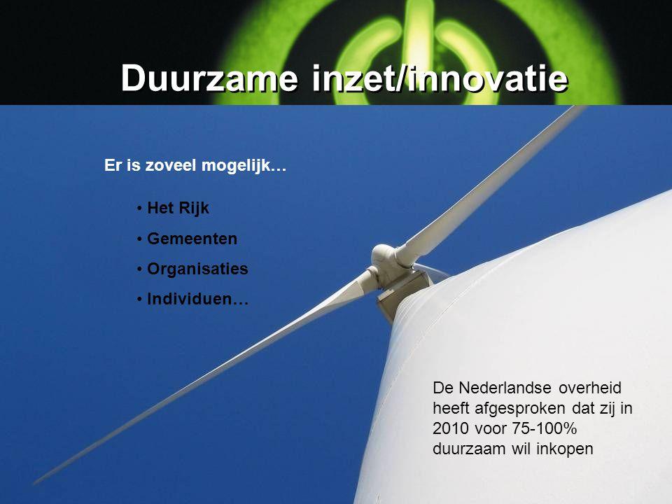 Duurzame inzet/innovatie